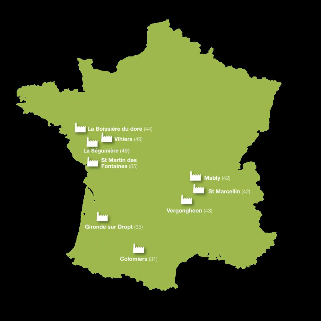 9 sites de production en France